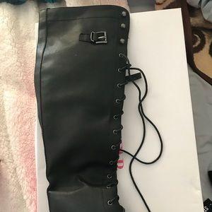 NWT JustFab Knee Tie up black boots